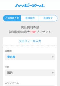 ハッピーメール 登録画面